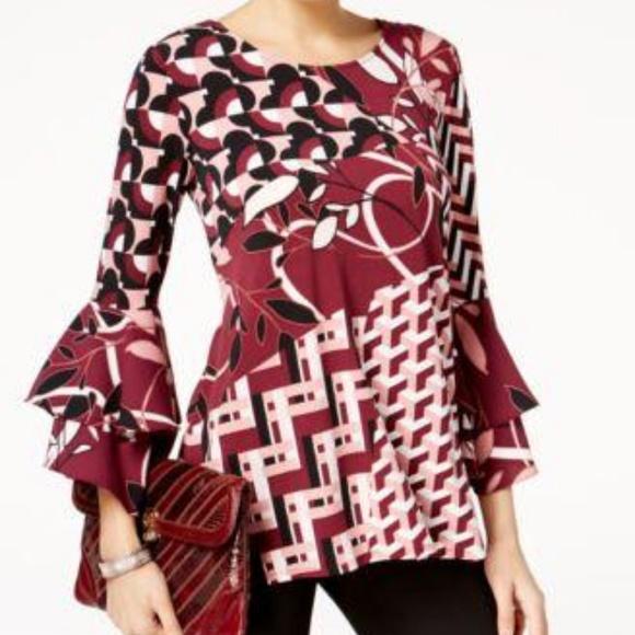 Alfani Womens Patchwork Bell Sleeves Blouse Petite//Petite
